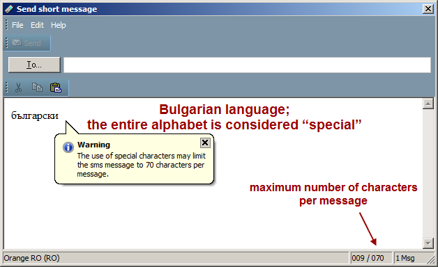"SMS message composition, Bulgarian language, ""special"" characters"