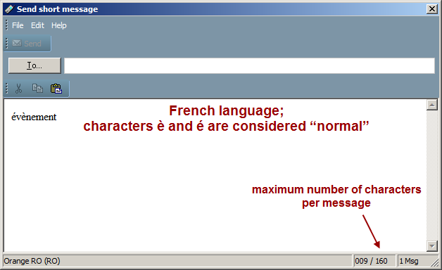 "SMS message composition, French language, ""normal"" characters"