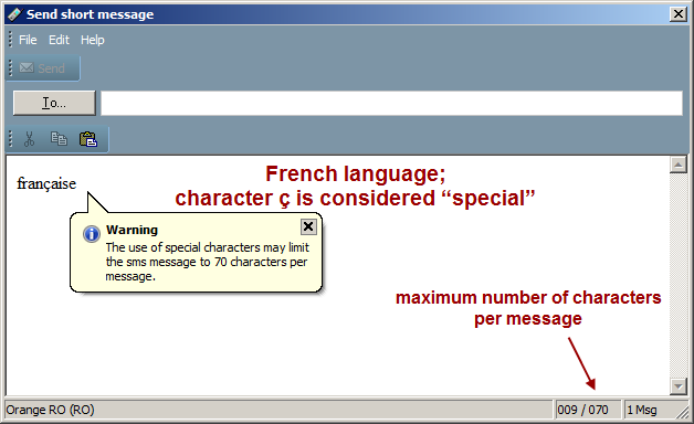 "SMS message composition, French language, ""special"" characters"