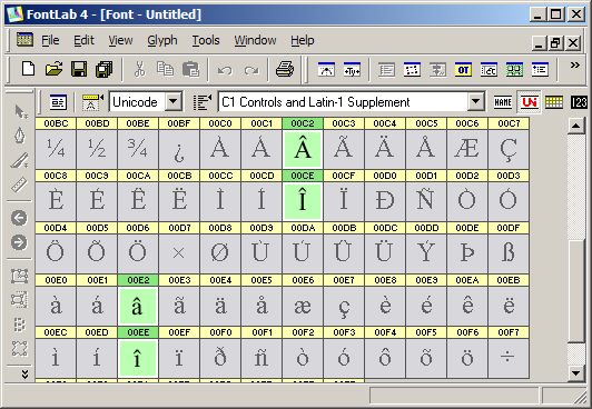 captură FontLab - C1 Controls and Latin-1 Supplement
